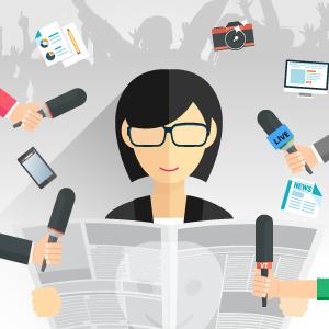 jornalista com microfones, câmaras