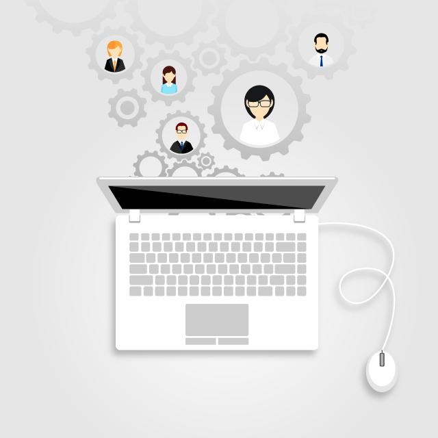 Computador com pessoas