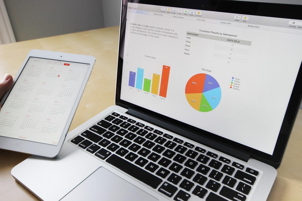 Computador e tablet com gráficos